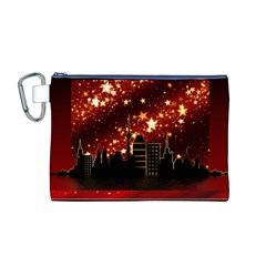 City Silhouette Christmas Star Canvas Cosmetic Bag (M)