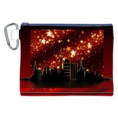 City Silhouette Christmas Star Canvas Cosmetic Bag (XXL)