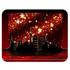 City Silhouette Christmas Star Double Sided Flano Blanket (Medium)