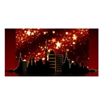 City Silhouette Christmas Star Satin Shawl Front