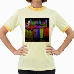 City Metropolis Sea Of Light Women s Fitted Ringer T-Shirts