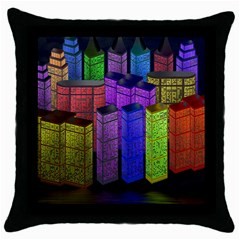 City Metropolis Sea Of Light Throw Pillow Case (black)