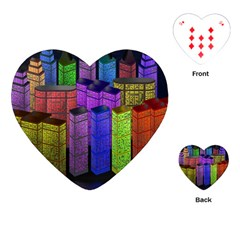 City Metropolis Sea Of Light Playing Cards (Heart)
