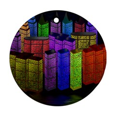 City Metropolis Sea Of Light Round Ornament (Two Sides)