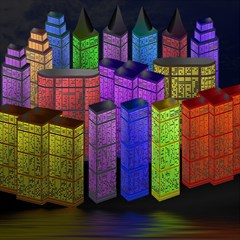 City Metropolis Sea Of Light Magic Photo Cubes