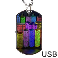 City Metropolis Sea Of Light Dog Tag USB Flash (Two Sides)