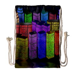 City Metropolis Sea Of Light Drawstring Bag (Large)