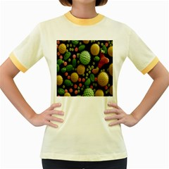 Colorized Pollen Macro View Women s Fitted Ringer T-Shirts