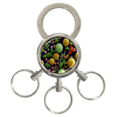Colorized Pollen Macro View 3-Ring Key Chains