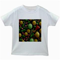 Colorized Pollen Macro View Kids White T-Shirts