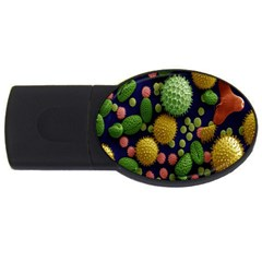 Colorized Pollen Macro View USB Flash Drive Oval (4 GB)
