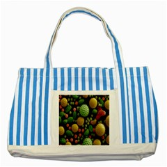 Colorized Pollen Macro View Striped Blue Tote Bag