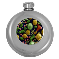 Colorized Pollen Macro View Round Hip Flask (5 oz)