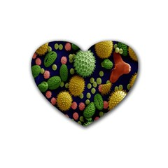 Colorized Pollen Macro View Rubber Coaster (heart)