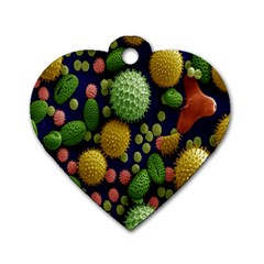 Colorized Pollen Macro View Dog Tag Heart (Two Sides)
