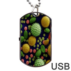 Colorized Pollen Macro View Dog Tag USB Flash (Two Sides)