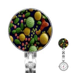 Colorized Pollen Macro View Stainless Steel Nurses Watch