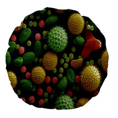 Colorized Pollen Macro View Large 18  Premium Flano Round Cushions