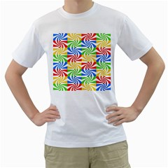 Colorful Abstract Creative Men s T-Shirt (White) (Two Sided)