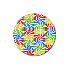 Colorful Abstract Creative Rubber Round Coaster (4 pack)