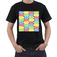 Colorful Abstract Creative Men s T-Shirt (Black) (Two Sided)