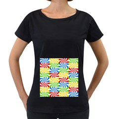 Colorful Abstract Creative Women s Loose-Fit T-Shirt (Black)