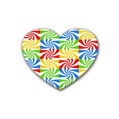Colorful Abstract Creative Rubber Coaster (Heart)