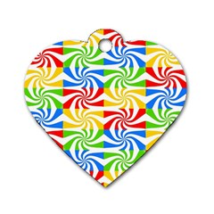Colorful Abstract Creative Dog Tag Heart (One Side)