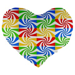Colorful Abstract Creative Large 19  Premium Heart Shape Cushions