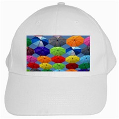 Color Umbrella Blue Sky Red Pink Grey And Green Folding Umbrella Painting White Cap