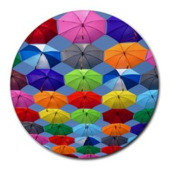 Color Umbrella Blue Sky Red Pink Grey And Green Folding Umbrella Painting Round Mousepads