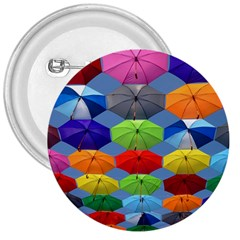 Color Umbrella Blue Sky Red Pink Grey And Green Folding Umbrella Painting 3  Buttons