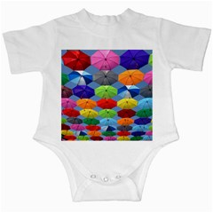 Color Umbrella Blue Sky Red Pink Grey And Green Folding Umbrella Painting Infant Creepers