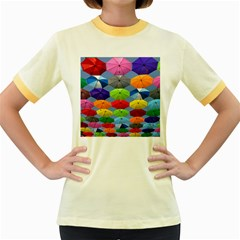 Color Umbrella Blue Sky Red Pink Grey And Green Folding Umbrella Painting Women s Fitted Ringer T Shirts