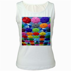 Color Umbrella Blue Sky Red Pink Grey And Green Folding Umbrella Painting Women s White Tank Top