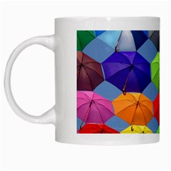 Color Umbrella Blue Sky Red Pink Grey And Green Folding Umbrella Painting White Mugs