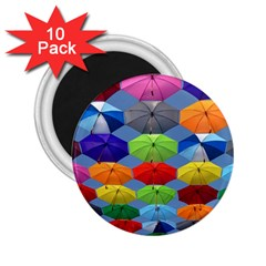 Color Umbrella Blue Sky Red Pink Grey And Green Folding Umbrella Painting 2.25  Magnets (10 pack)