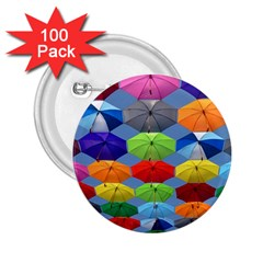 Color Umbrella Blue Sky Red Pink Grey And Green Folding Umbrella Painting 2 25  Buttons (100 Pack)