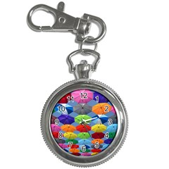 Color Umbrella Blue Sky Red Pink Grey And Green Folding Umbrella Painting Key Chain Watches