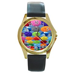 Color Umbrella Blue Sky Red Pink Grey And Green Folding Umbrella Painting Round Gold Metal Watch