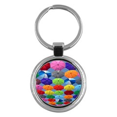 Color Umbrella Blue Sky Red Pink Grey And Green Folding Umbrella Painting Key Chains (Round)