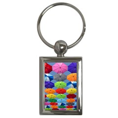 Color Umbrella Blue Sky Red Pink Grey And Green Folding Umbrella Painting Key Chains (Rectangle)