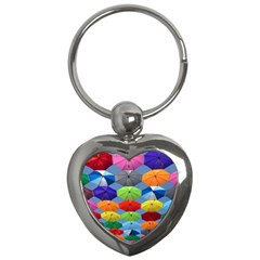 Color Umbrella Blue Sky Red Pink Grey And Green Folding Umbrella Painting Key Chains (Heart)