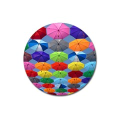 Color Umbrella Blue Sky Red Pink Grey And Green Folding Umbrella Painting Magnet 3  (Round)