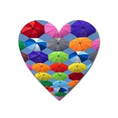 Color Umbrella Blue Sky Red Pink Grey And Green Folding Umbrella Painting Heart Magnet