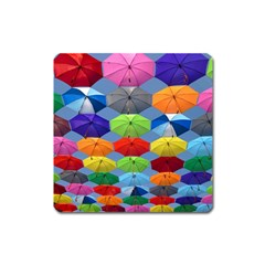 Color Umbrella Blue Sky Red Pink Grey And Green Folding Umbrella Painting Square Magnet