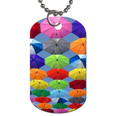 Color Umbrella Blue Sky Red Pink Grey And Green Folding Umbrella Painting Dog Tag (One Side)