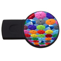 Color Umbrella Blue Sky Red Pink Grey And Green Folding Umbrella Painting USB Flash Drive Round (2 GB)