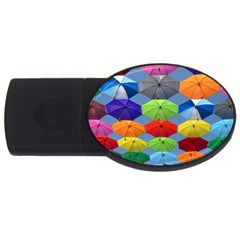 Color Umbrella Blue Sky Red Pink Grey And Green Folding Umbrella Painting USB Flash Drive Oval (1 GB)