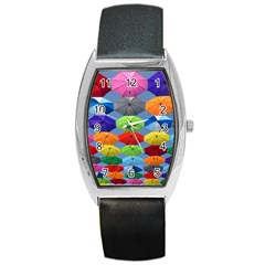 Color Umbrella Blue Sky Red Pink Grey And Green Folding Umbrella Painting Barrel Style Metal Watch